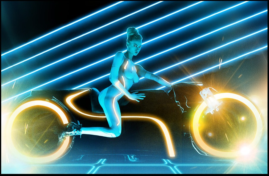 Playboy Tron - Playboy Tribute to Tron - Playboy Light Cycle Pics - Game On